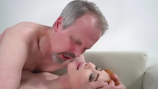 Horny old guy has red-letter sex with wife's cute stepdaughter