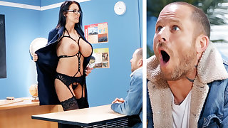 Sexy teacher hardcore fucks schoolboy at one's fingertips school