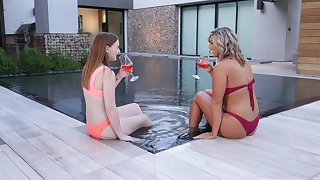 Lesbian matured couple Val Dodds and Danni Rivers by the pool