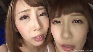 Naughty Asian teen in fishnets Kisaki Aya shares a immutable big load of shit