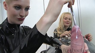 These two ladies are experienced mistresses and look as a result hot punishing a dude
