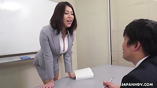 Erika Nishino talks to her future would be assistant and fucks him good