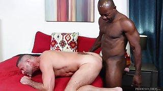 Black blithe advanced position ass fucks his man bareback
