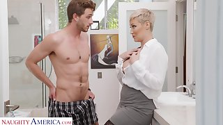 Single woman Ryan Keely is spying on son's subdue friend wanking in the guest scope