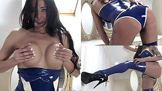Jasmine not far from Titillating Top and Stockings - LatexHeavenVideo