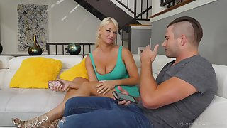 Busty mama London River gives a great blowjob to her 19 yo stepson