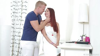 Redhead girlfriend Sabina C wanted to be fucked in her tooshie