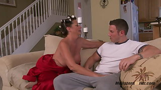Big Titty Milf Sucks Cock in Curlers
