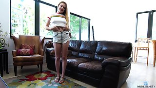 Delicacy teen Brie Viano is masturbating pussy in different positions