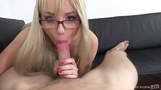 Cutest blonde with plump ass Kira Thorn gives her head exceeding POV camera