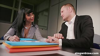 Young brunette Valentina Ricci allows her new boss to borehole anal hole