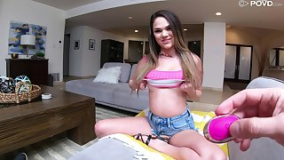 Undying POV scene featuring petite chick Athena Faris and dude around a huge phallus