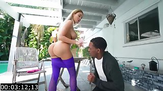 Big-Titted blond, Victoria June is having bi-racial fuck-fest anent a gloomy fellow, during the make obsolete
