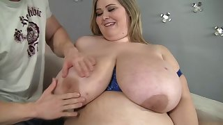 BBW whore Mandy Majestic moans while a skinny gay blade fucks her