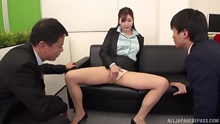 Secretary Aoi Yurika moans while getting fucked by two dudes