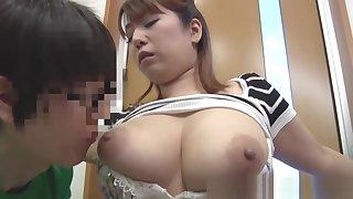 MARLBOROQUEENSEX - Naho Hazuki Asian model exposes huge hooters to around to friend
