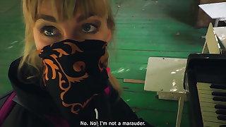 Outdoor blowjob. Stalker Karina sucks a guard's detect