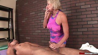 Interracial dick massage for a lucky black guy by blonde mature