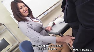 Sexy Japanese teacher allows student regarding trouble her boobies increased by rendered helpless anal chink