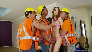 Skinny beauty leaves these horny builders to torn her pussy