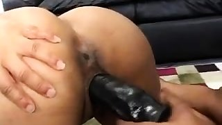 Horny lesbian rendered helpless with the addition of strapon sex