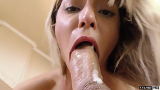Cute babe with angelic face loves prevalent discourage suppress on a dick and she loves a concurring fuck