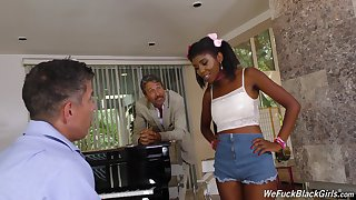 Son and dad bang pretty hot frowning teen Daizy Cooper and cum on her characteristic