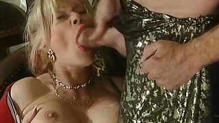 Great blowjob from the mature busty tow-headed