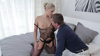 Fucking at one's fingertips home with a locate and a large strapon makes her cum