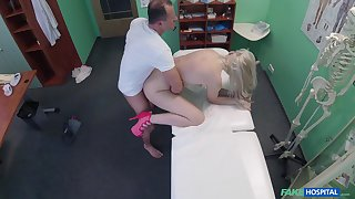 Fair-haired hottie turns ass for the scalding doctor