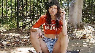 Baeb x Tiny4K: Skater Girl Swipes Right