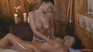 Passionate pussy massage makes Lucy Li's client cum in the cards explore