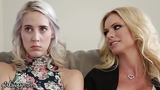 Stepmom and her bestie seduce that young woman into having a fruity triad